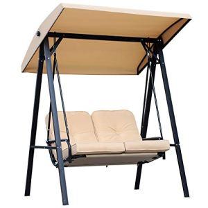 Homcom Balancelle de Jardin 2 Places Grand Confort Coussins d'assise et Dossier fournis accoudoirs Pare-Soleil Sable