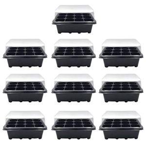 K9CK Pots de Germination, Kit de Germination avec Trous de Drainage Mini Serre pour Semis Plateau Sprout 12 Trous Nursery Pots Couvercles Boîte – 10Pcs