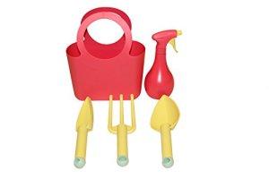Kit Outils de jardin 5pièces en plastique rouge