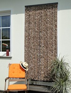 Leguana – Rideau de porte en chenille – marron/beige – 90 x 200 cm