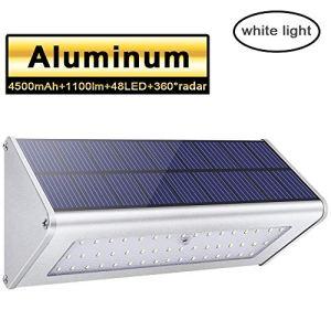Licwshi 1100 lumens lampe solaire 48LED 4500mAh avec coque en alliage d'aluminum, imperméable en plein air, radar-détection de mouvement, s'appliquant au porche, jardin, cour, garage – lumière blanche(2018 nouvelle version-1 Pack)