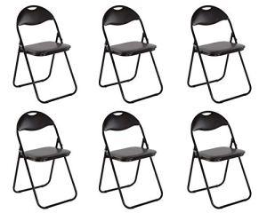 Lot de 6Chaise pliante chaise pliante invités Chaise Chaise de jardin métal en noir PVC en noir