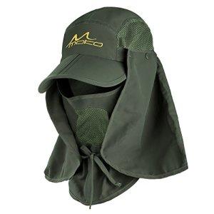 MoKo Casquette de Protection UV Sun Hat été, Chapeau de Pêche à Séchage Papide, 360 ° Casquette de Protection UV UPF 50 été, Chapeau Amovible à Col et à Rabat pour Hommes et Femmes, Vert d'armée