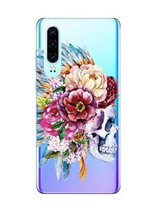 Oihxse Clair Crystal Soft Silicone Compatible pour Xiaomi Redmi Note 8 Pro Coque Transparente TPU Crâne Rose Motif Design Housse Ultra Mince Protection Antichoc Etui(E9)