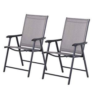Outsunny Lot de 2 chaises de Jardin Pliantes avec accoudoirs métal époxy textilène Noir Gris