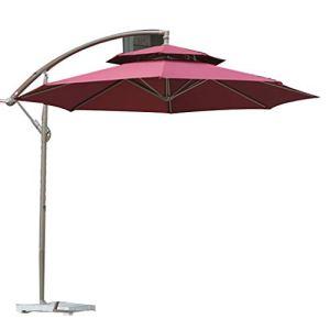 Parapluie extérieur/Parasol de Jardin/Parapluie publicitaire, Suspension décalée de Conception Double, Dessus en Fer ABS, montés à la Main en Fer Plastique, avec Base en marbre, Style Moderne