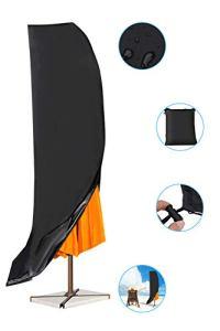 Pathonor Couverture de Parasol en 420D Oxford,Housse Imperméable pour Protection avec Sac de Rangement, Bâche Anti-Poussière/UV/Intempéries pour Jardin Salon Extérieur,265 * 40 * 70cm (Grande)