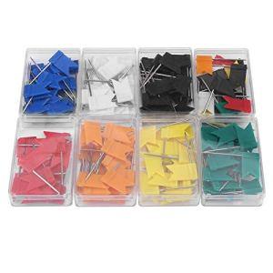 Pins de la carte – 8 boîtes Drapeau coloré Forme Pins de la punaise Dessin Fournitures de papeterie