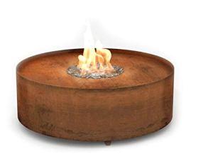 Planika Galio Fire Pit Corten [Cheminée à gaz extérieur] : Bouteille de gaz (Propane, Butane) avec télécommande – avec Cylindre en Verre – Automatique