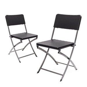 Relaxdays Lot de 2 Chaises de jardin pliables pliantes Chaise de camping BASTIAN en aspect rotin H x l x P: 82 x 44 x 50 cm, noir