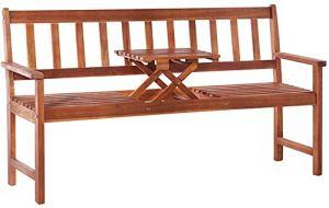 RJDJ Banc de Jardin Acacia avec Une Table en Bois Brun Banc de Parc Banc de Banc,Wood