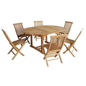 Salon de jardin en bois de TECK BRUT QUALITE GRADE A 6/8 pers – Table ronde/ovale 120/170cm + 6 chaises