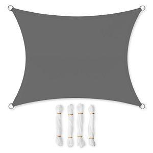 SONGMICS 3,5 x 5 m Voile d'ombrage en PES pour Le Jardin Résistante aux intempéries Protection Solaire Polyester Rectangulaire Anthracite GSH35GY
