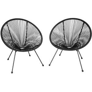 tectake 800729 2 Fauteuils Acapulco de Jardin de Salon Design rétro, pour Un Usage en intérieur et extérieur – Plusieurs Couleurs – (Noir | no. 403302)