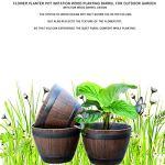 WBFN Pots de Fleurs Pots Imitation Bois Fer Arbre Pots PP Résine Pot de Fleurs en Bois Imité Plantation Barrel créatif résine Plantation extérieur décoratif (Color : 1)