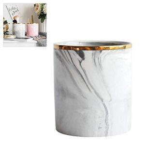 Woqook Pot de rangement nordique en marbre en céramique pour pinceaux cosmétiques et stylos gris