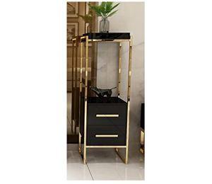 YYH Multifonctionnel Pot de Fleur de léger Ornements d'or Rangement Petite étagère Simple Salon Plancher en Acier Inoxydable (Color : Gold Plated+Black, Size : L)