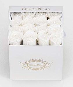 100% Real Roses That Last A Year – Perfect Unique Gift for Women, Men, Anniversary Gift, Birthday Gift – White Velvet Box with Swarovski Crystals (White)