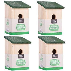 4x Nichoir en bois Oiseau Nichoir Mésange House petits oiseaux bleu Moineau Robin