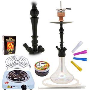 Amy Deluxe 057R Shisha Globe Kit de shisha premium avec cheminée en silicone, tuyau de vapeur Shiazo et allume-charbon Doré 76 cm Transparent-regenbogen Rs Schwarz