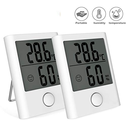 BACKTURE Thermomètre Hygromètre Intérieur, 2 Pack Mini Thermomètre Numérique Domestique, Hygromètre Intérieur Portable pour Moniteur Température Humidité (Blanc)