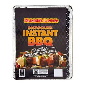 Barbecue jetable instantané Idéal pour les petites fêtes ou pour un rapide avec charbon de bois, briquet et support métallique.