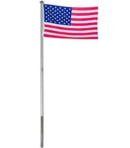 BRUBAKER Mât de Drapeau en Aluminium – Hauteur 6 m – Drapeau USA/États-Unis 150 x 90 cm Inclus – Kit Complet avec Fourreau de Fixation