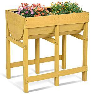 COSTWAY Potager sur Pied Jardinière sur Pieds Table de Culture en Sapin 70 x 44,5 x 72 cm Jaune
