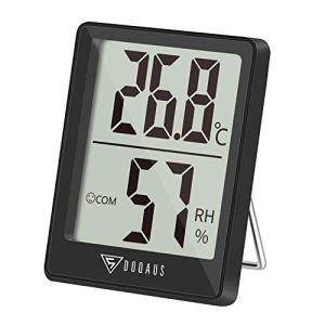 DOQAUS Mini Thermometre Interieur, Hygrometre Interieur de Haute Précision, ℃/℉Commutable, pour Détecter Hygrometré et la température, Indication du Niveau de Confort, Portable (Noir)