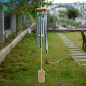 HY HuaYang Nouveau Métal En Aluminium 6-Tubes Suspendus Bénédiction Carillon de Vent Avec Bois Pendentif Décor À La Maison