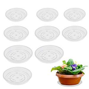 LANMOK Soucoupe Plante Plastique 9Pcs Soucoupes pour Pots de Fleurs Plateaux de Soucoupes Transparents Plateaux d'égouttage pour Plantes d'intérieur et d'extérieur Pot de Fleurs Jardinage 3 Taille