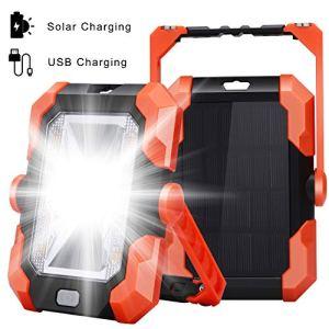 Leolee Projecteur LED Rechargeable Charge solaire Projecteur Chantier 20W 1500LM Lampe de Travail Lanterne Portable avec Rotation à 360° Poignée Réglable et Magnétique