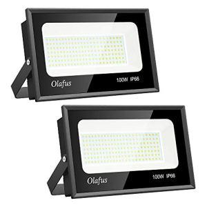 Olafus 2 Projecteurs LED Extérieur 100W, IP66 Etanche, 11000LM, Spot LED Extérieur Puissant, 5000K Blanc Froid, Eclairage de Sécurité, pour Terrain, Piscine, Jardin Terrasse Garage Patio Grange Cour