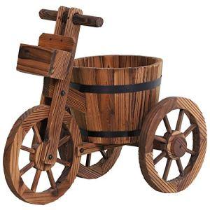 Outsunny Porte Plante Tricycle – étagère de Pots de Fleurs – jardinière dim. 52L x 31l x 45H cm – Bois de Sapin