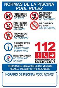Panneau de signalisation en PVC résistant – Bordures de piscine – Pool Rules – Panneau de signalisation – Idéal pour accrocher et avertir, 10