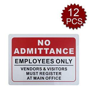 Panneau en aluminium de qualité supérieure avec inscription « No Admittance Staff Only », Employees Only/12pcs, 10″ W x 14″ L