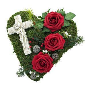Radami Décoration funéraire en Forme de cœur tomba, cœur funéraire, Croix ou Ange en Forme de cœur et cœur Gris