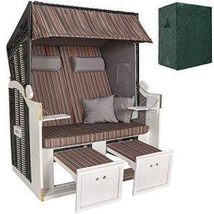 TecTake Chaise Cabine de Plage + Housse de Protection + 2 Coussins – diverses Couleurs au Choix – (Multicolore | no. 401122)
