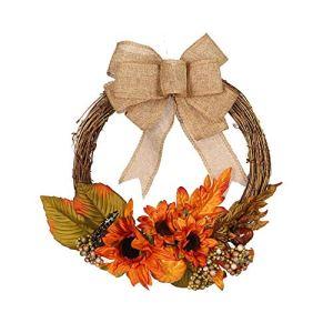 14 » couronnes de tournesol artificielles, guirlande de porte d'automne, guirlande de guirlande de citrouille de tournesol bowknot suspendue pour la décoration de Thanksgiving Halloween