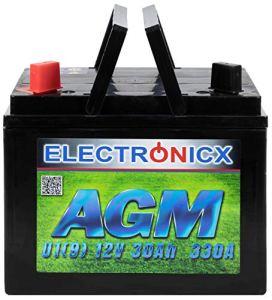 AGM U1 (9) Batterie 30 Ah 300 A (en) pour Tondeuse à Gazon à soulever, Outils de Jardinage, Batterie de démarrage, Technologie AGM verrouillable