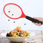 Alimentation électrique par Batterie – Mouche tapette à Moustique électrique – Batterie sans Fil électrique – Mouche tapette à Moustique – Bug Zapper Raquette Insectes Killer(Rouge)