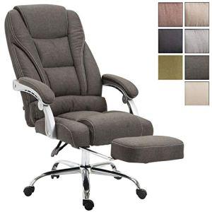 CLP Fauteuil de bureau PACIFIC en tissu, poids admis 150 kg, siège de relaxation avec un appui-pieds extractible, fauteuil de chef avec accoudoirs gris foncé