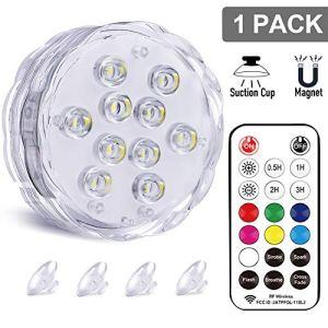 Coloré Éclairage LED Étanche avec la télécommande – Qoolife Lumière Submersible de LED RF Eclairage Magnetique à Distance pour Aquarium Baignoire Piscine Jardin Milieu Aquatique(1 Paquet)