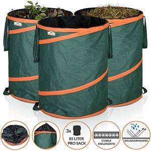 GARDEBRUK – 3x Sac de déchets de jardin 85L max. 30kg par sac tissu renforcé hydrofuge ordures bac