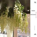 HXF- Faux Fleur 12 bâtons de Simulé Wisteria Toit Plafond Violet Ornements Fleurs en Plastique Suspendus Fleurs Plantes de Plafond Hanging intérieur Mode (Color : Milky White)