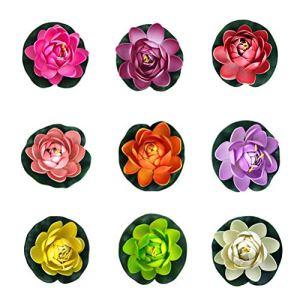 Lot de 9 flotteurs Lotus de 11 cm en forme de fleur de nénuphar pour décoration de piscine Multicolore