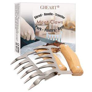 Meat Claws Lot de 2 fourchettes pour porc poudre, BBQ Claws, griffes de viande, griffes de viande en acier inoxydable