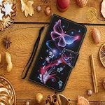 Miagon Etui à Rabat en PU Cuir pour Xiaomi Redmi Note 9S,Portefeuille Coque de Protection Pochette Cover avec Carte Fentes,Papillon Violet