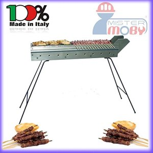 Mistermoby Barbecue for Grilling Skewers Meat on a Stick Kebab Meat Bread Fish Lenght 110 Cm The Original by Mister Moby