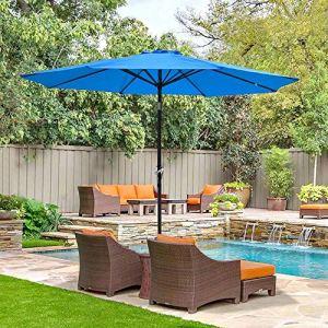 Parasol ReaseJoy pour jardin, terrasse, café, magasin, fête de mariage, plage 2.7m(9ft) 8-Rib bleu